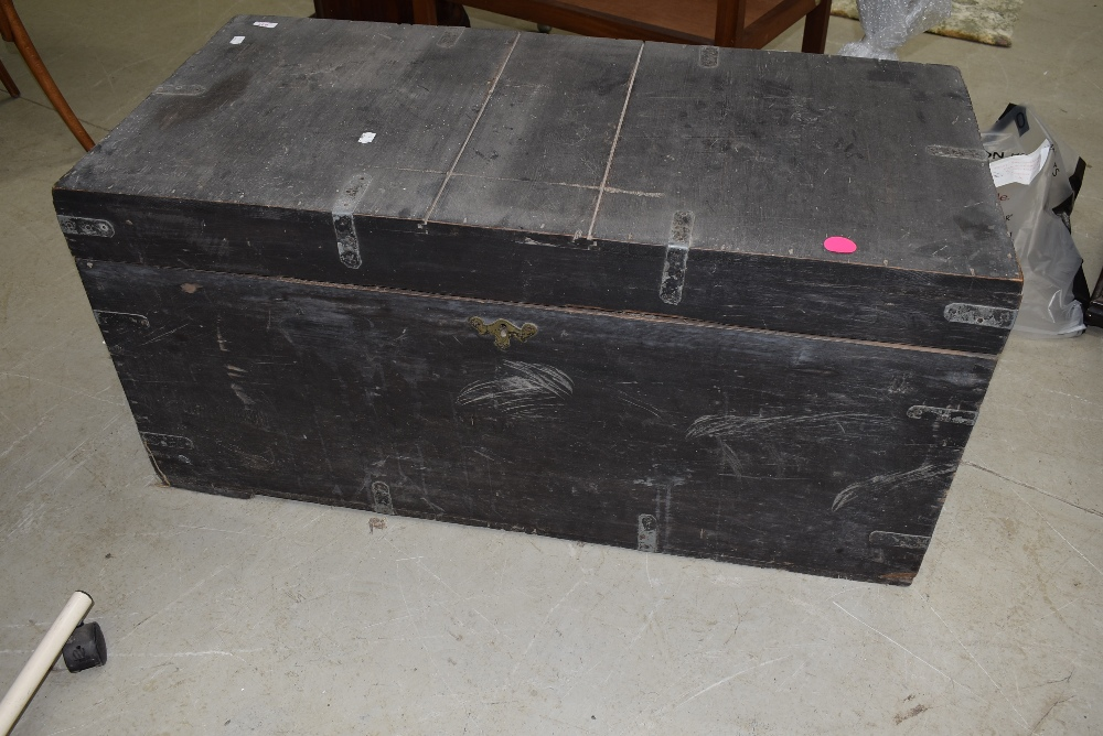 A traditional stained pine blanket box, dimensions approx. 105 x 52 x 49cm