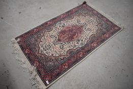 A traditional fireside rug, approx. 130 x 78cm, nice quality , possibly Belgian