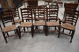 A Harlequin set of ten 18th Century and later rush seated ladder back chairs (being sold for St