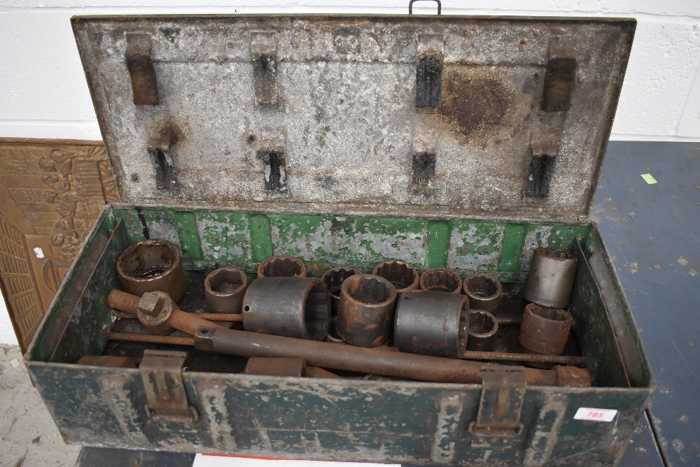 A selection of large AF and Whitworth sockets including military , Britool , King Dick and