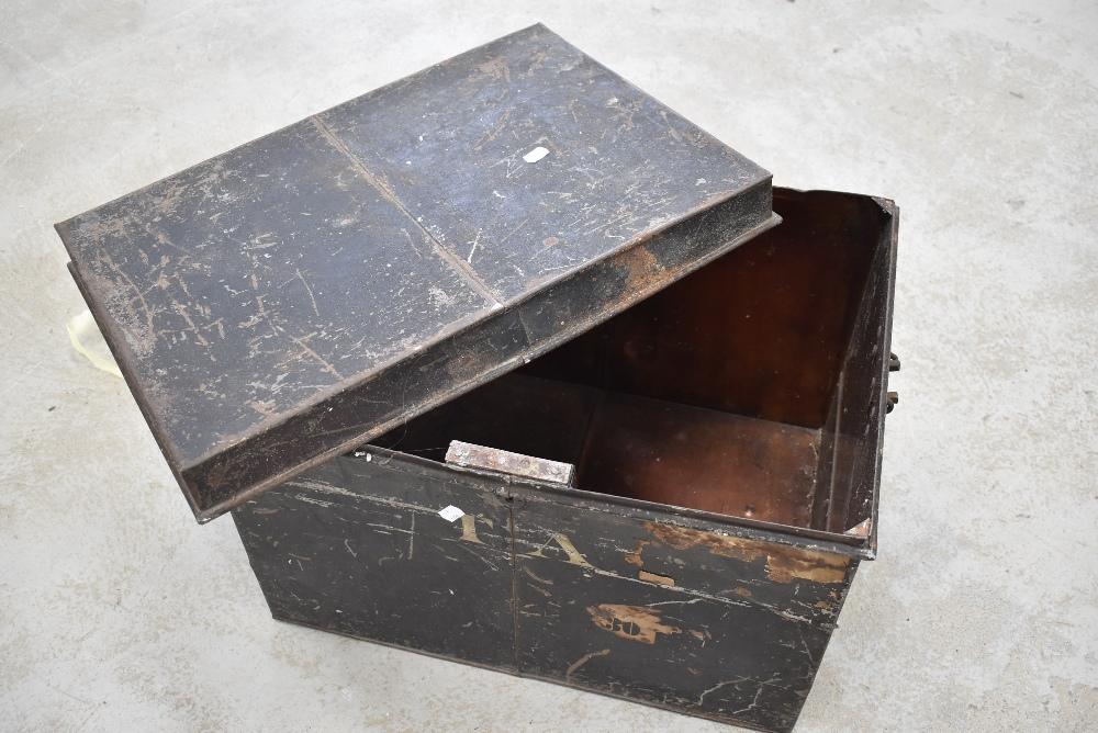 A vintage tin trunk