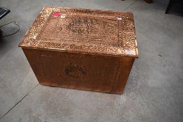 A copper slipper or kindling box, dimensions approx. 59 x 39 x 39cm