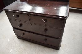 A 19th Century stained frame chest of two over two drawers, width approx. 109cm