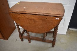 An early 20th Century oak twist gateleg occasional or small dining table
