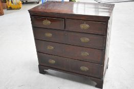 A 19th Century mahogany chest of two over three drawers (past worm treated , but shabby throughout ,