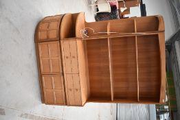 A vintage teak Nathan lounge shelf and corner unit