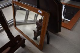 A vintage oak frame wall mirror, approx. 57 x 42cm