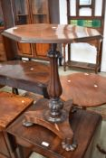 A William IV mahogany pedestal table base, later octagonal top (loose)