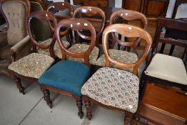 A harlequin set of six Victorian mahogany balloon back chairs