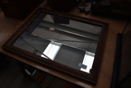 A vintage oak frame wall mirror, approx. 46 x 36cm