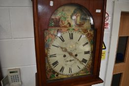 A 19th Century bleached mahogany longcase clock having painted dial depicting 'Lady of the Lake' , 8