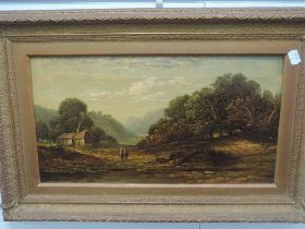 An oil painting, WHW, country landscapes C19th, initialled, 24 x 44cm, plus frame and glazed