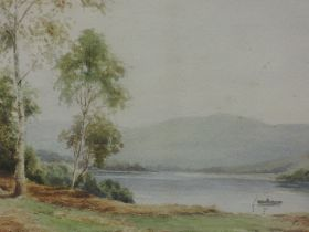 A watercolour, E Hayes, Lakes landscape, signed, 23 x 33cm, plus frame and glazed