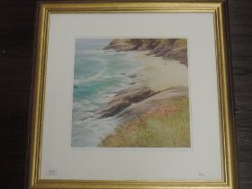 A print, after Steven Mcloughlin, watching the waves, indistinctly signed, 33 x 33cm, plus frame and