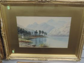 A watercolour, Milton Drinkwater, Blea Tarn and the Langdales, signed and attributed verso, 29 x