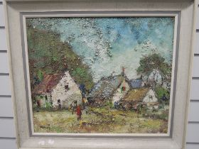 An oil painting on board, George Deakins, cottages in landscape, signed and dated (19)75, and