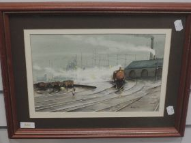 A watercolour, Barden, locomotive shed, signed and dated (19)91, 20 x 30cm, plus frame and glazed