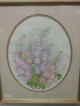 A watercolour, Joanne Watson, still life, oval, 35 x 28cm, plus frame and glazed