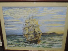 A watercolour, galleon at sea, 53 x 72cm, plus frame and glazed