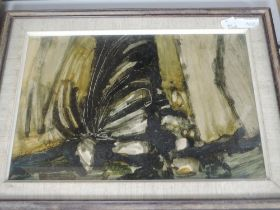 A mixed media painting, Gerald French, shellac and soot, abstract, signed and dated 1963, and