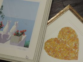 A print, after Georgio, coastal cats, indistinctly signed, 35 x 27cm, plus frame and glazed, and a