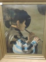 A print, after Hendrick Ter Bruggher, Flute Player , 56 x 40cm, plus frame and glazed
