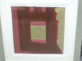 A mixed media pinting, Linda Charles, abstract, signed and attibuted verso, 50 x 50cm, plus frame