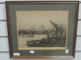 An etching, after Holloway, St Pauls from the Thames, 23 x 28cm, plus frame and glazed