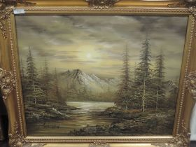 An oil painting, Gorman, mountain and lake landscape, 50 x 60cm, plus frame