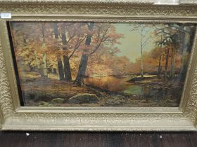 A textured print, after Wood, autumn forest, 40 x 67cm, plus frame