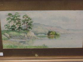 A watercolour, J S Elliott, lake landscape, signed, 19 x 38cm, plus frame and glazed