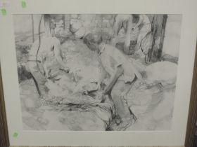A pencil sketch, Goodall, sheep shearing, 54 x 67cm, plus frame and glazed