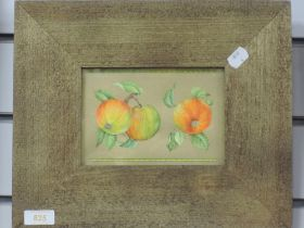 A watercolour, still life apples, 11 x 17cm, plus frame and glazed