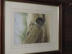 A watercolour, Michael Demain, beach bunny, 30 x 23cm, plus frame and glazed