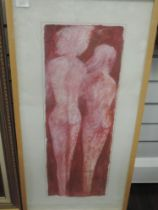 A mixed media painting, stylised bodies, 70 x 25cm, plus frame and glazed