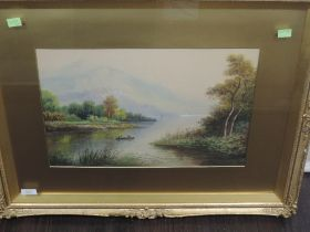 A watercolour, Milton Drinkwater, Loch Lomond, signed and attributed verso, 29 x 44cm, plus frame