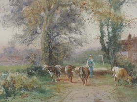 A pair of watercolours, H C Fox, farmsteads and cattle, signed and dated 1905, each 35 x 52cm,