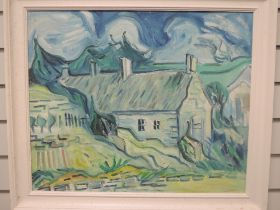 An oil painting on board, David Stephen Budden, cottages, attributed verso, 49 x 59cm, plus frame