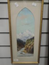 An oil painting, Continental mountain and river landscape, 35 x 12cm, plus frame and glazed