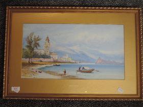 A watercolour, Edwin St John, Lake Lugano, signed, 24 x 44cm, plus frame and glazed