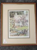 A Ltd Ed print, after Judy Boyes, Back door Rydal, signed and num 128/850, 27 x 20cm, plus frame and