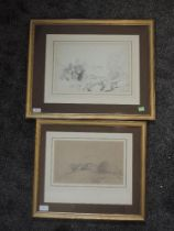 Two pencil sketches, attributed to Henry Harris Lines, Richmond, dated 1831, 22 x 33cm, and