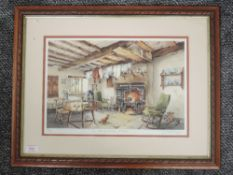A Ltd Ed print, after Judy Boyes, An Old Cumbrian Kitchen, signed and num 608/850, 26 x 38cm, plus