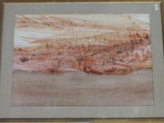 An oil painting, ripolin enamel, Sidney Nolan, Red desert- central Australia, NOT signed, 50 x 75cm,