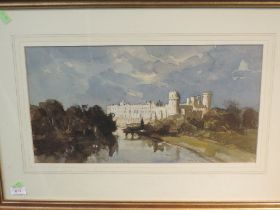 A watercolour, Anthony Flemming, Warwick castle, signed, 26 x 48cm, plus frame and glazed