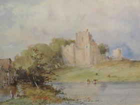 A watercolour, C R Yates, castle and river landscape, possibly Richmond, 24 x 34cm, plus frame and