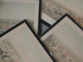 A set of four prints, after Alken, The Quorn Hunt, C20th re-prints, 35 x 50, plus frame and glazed