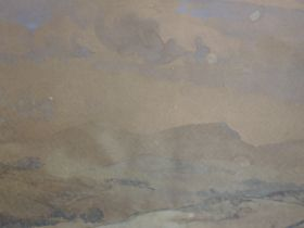 A watercolour, W H Somervell, sepia landscape, indistinctly signed and dated 1917, 24 x 34cm, plus