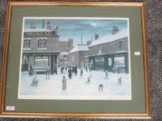 A Ltd Ed print, after Tom Dodson, Salvation Army in snow, signed and num 297/850, 37 x 48cm, plus