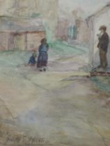 A watercolour, Edith E Martin, village scene, signed and attributed verso, 26 x 17cm, plus frame and